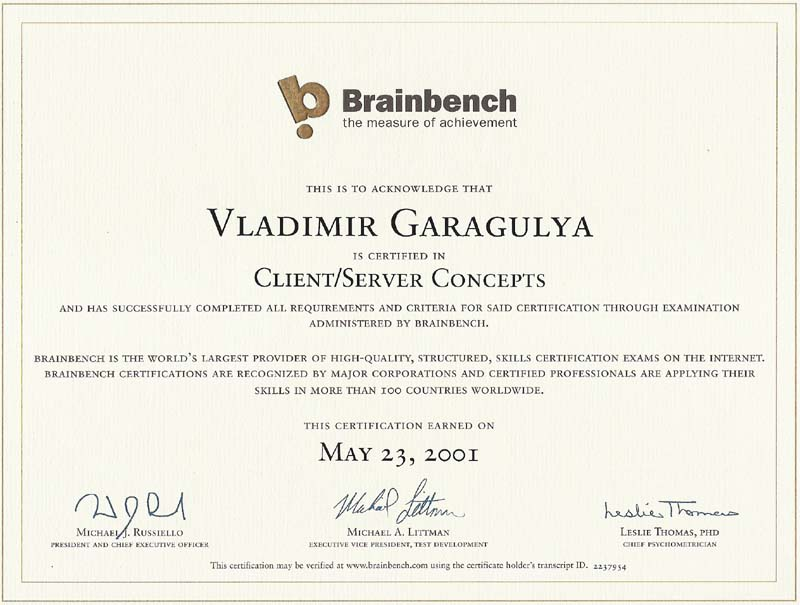 Client-Server concepts Brainbench certificate
