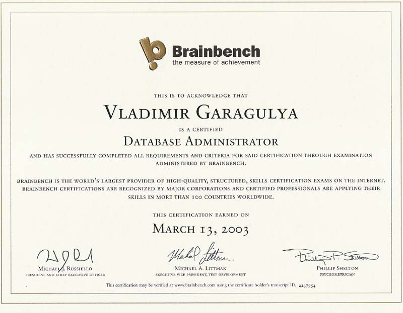 Database Administrator Brainbench certificate