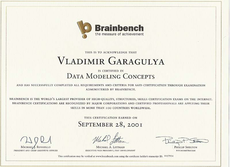 Data Modeling Concepts Brainbench certificate