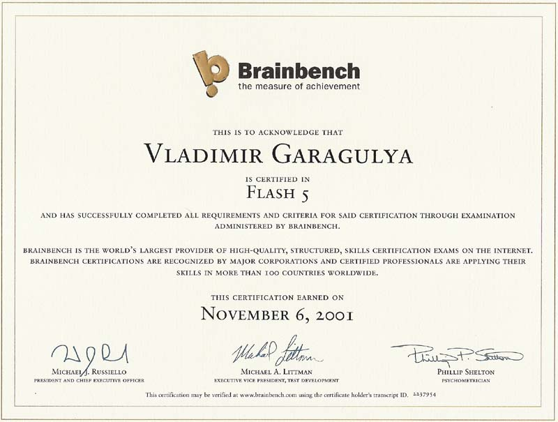 Flash5 Brainbench certificate