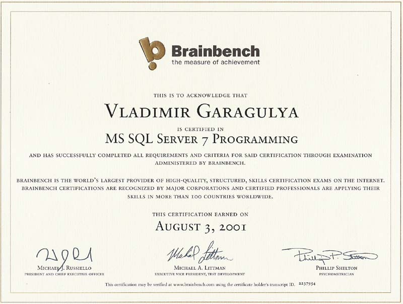 MS SQL Server programming Brainbench certificate