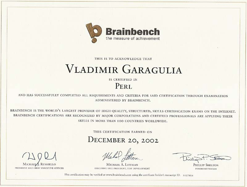 Perl Brainbench certificate