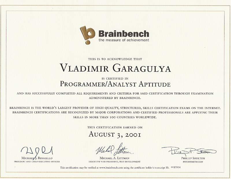 Programmer apptitude Brainbench certificate