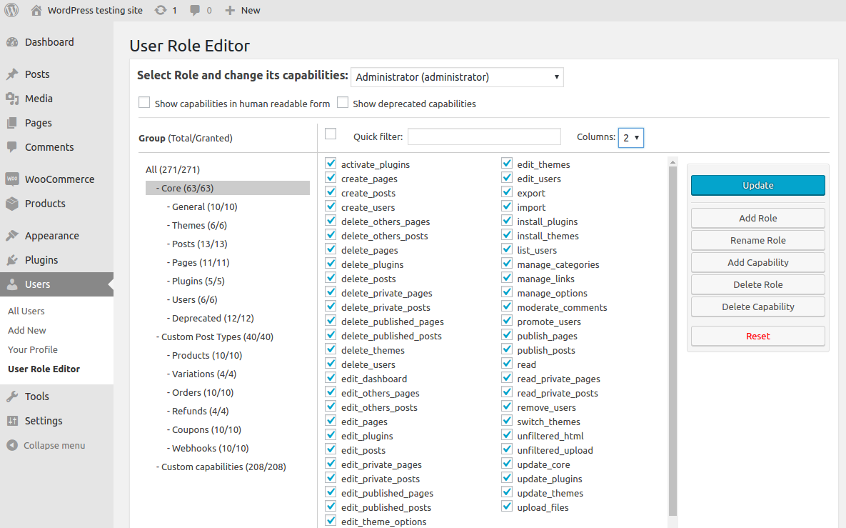 User Role Editor main form