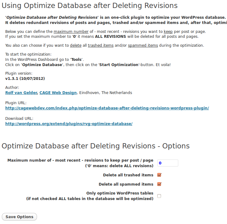 Optimize database after deleting revisions plugin Settings page