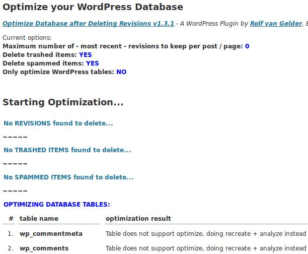 WordPress database optiomization results