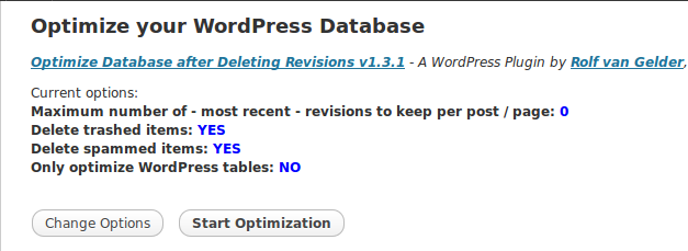 Optimize database after deleting revisions - Start optimization