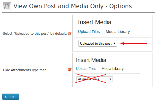 View own posts media only plugin options