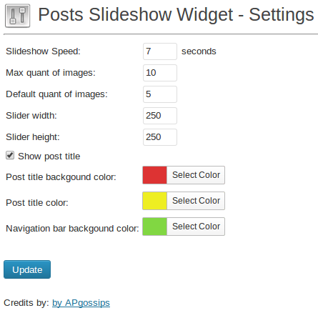 Settings page of Posts Slideshow Widget