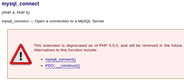 mysql extension deprecated by PHP 5.5