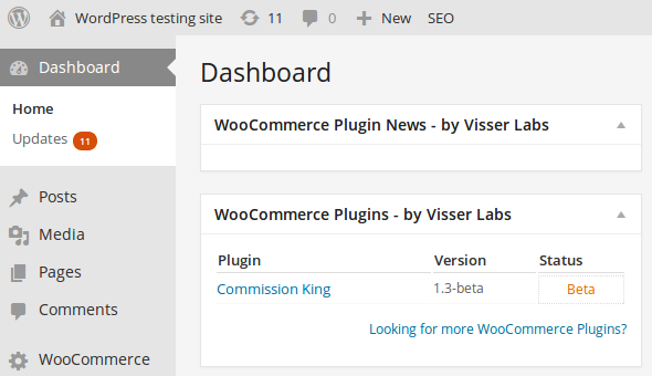 WooCommerce - Commission Kings plugin widgets