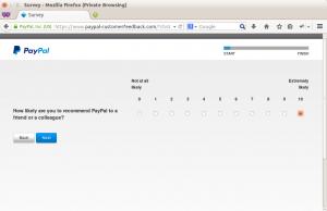 PayPal customer feedback step 1