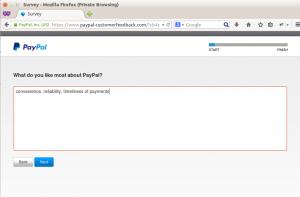 PayPal customer feedback step 2