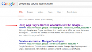 Google search app engine service account name