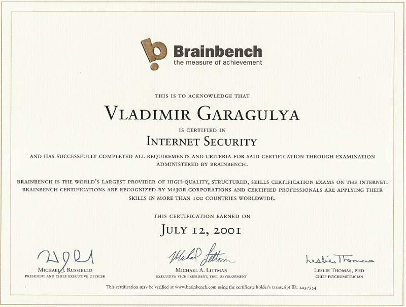 Internet Security Brainbench certificate