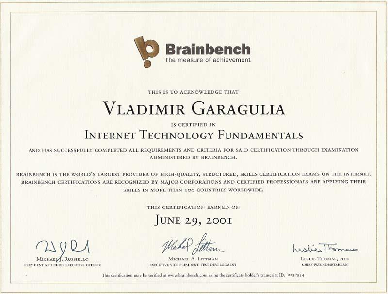 Internet technology fundamentals Brainbench certificate