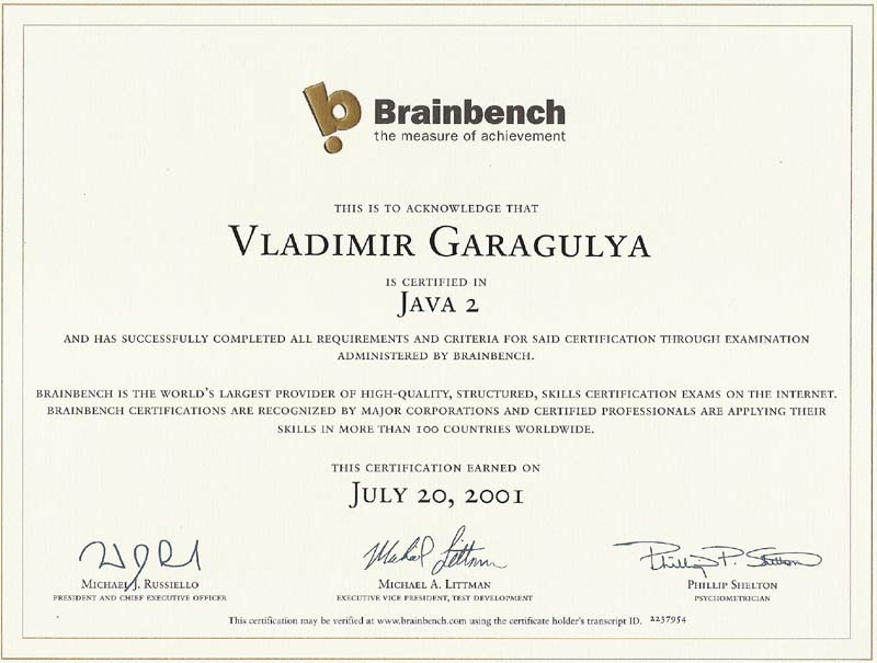 Java2 Brainbench certificate