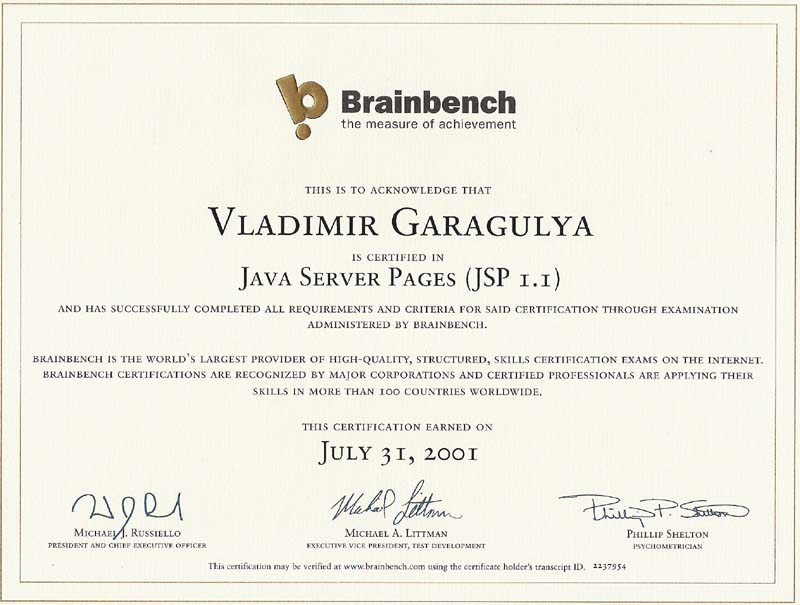 Java server pages Brainbench certificate