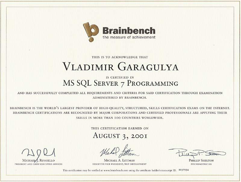 MS SQL Server programming Brainbench certificate