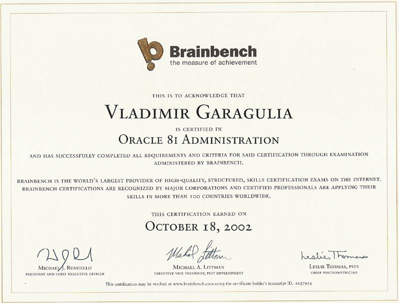 Oracle 8 administration Brainbench certificate
