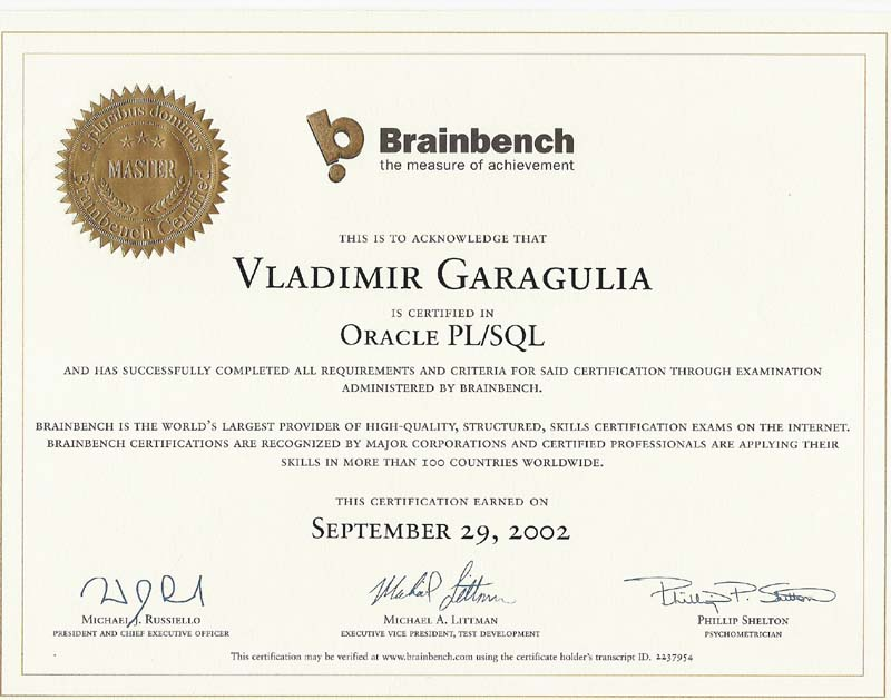 Oracle PL/SQL Brainbench Master certificate