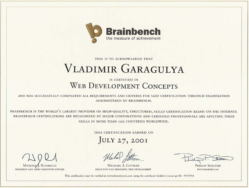 Web development concepts Brainbench certificate